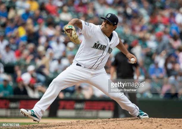 Reliever James Pazos of the Seattle Mariners delivers a pitch during an interleague game against the Philadelphia Phillies at Safeco Field on June 28...