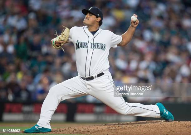 Reliever James Pazos of the Seattle Mariners delivers a pitch during a game against the Oakland Athletics at Safeco Field on July 8 2017 in Seattle...