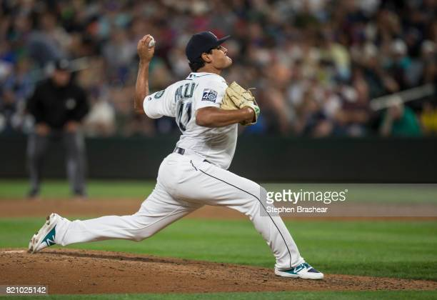 Reliever James Pazos of the Seattle Mariners delivers a pitch during a game against the New York Yankees at Safeco Field on July 20 2017 in Seattle...