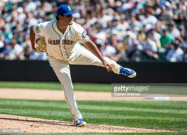 Reliever James Pazos of the Seattle Mariners delivers a pitch during a game against the New York Yankees at Safeco Field on July 23 2017 in Seattle...