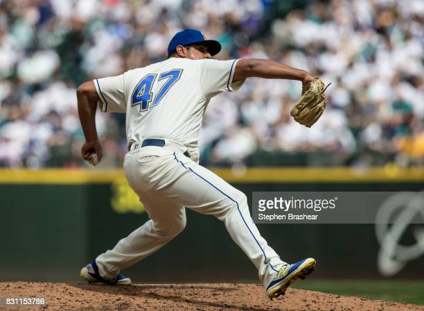 Reliever James Pazos of the Seattle Mariners delivers a pitch during the fifth inning of a game against the Los Angeles Angels of Anaheim at Safeco...
