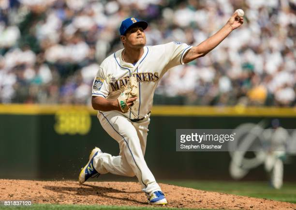 Reliever James Pazos of the Seattle Mariners delivers a pitch during a game against the Los Angeles Angels of Anaheim at Safeco Field on August 13...