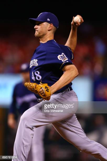 Reliever Jared Hughes of the Milwaukee Brewers delivers a pitch against the St Louis Cardinals in the eighth inning at Busch Stadium on June 13 2017...