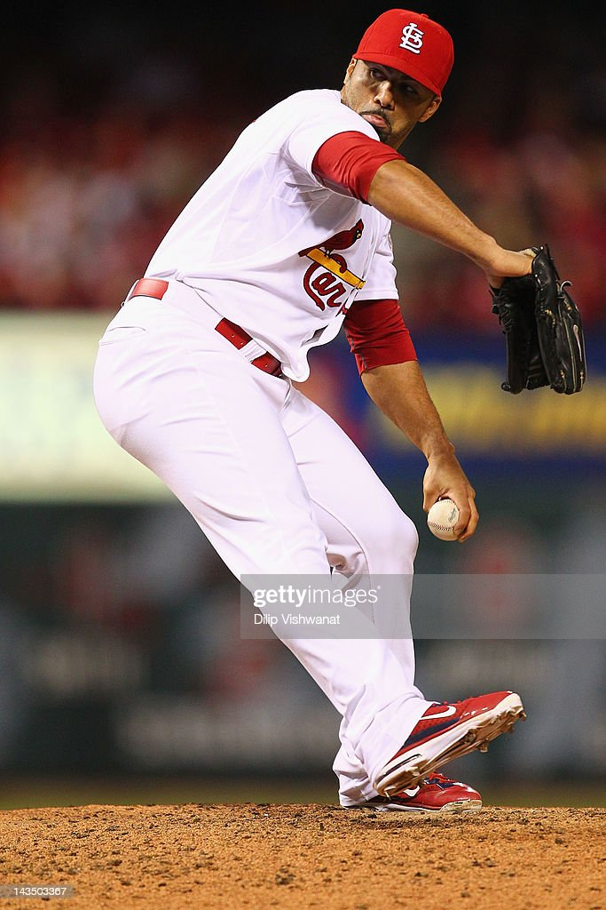 Reliever JC Romero of the St Louis Cardinals pitches against the Milwaukee Brewers at Busch Stadium on April 27 2012 in St Louis Missouri The...