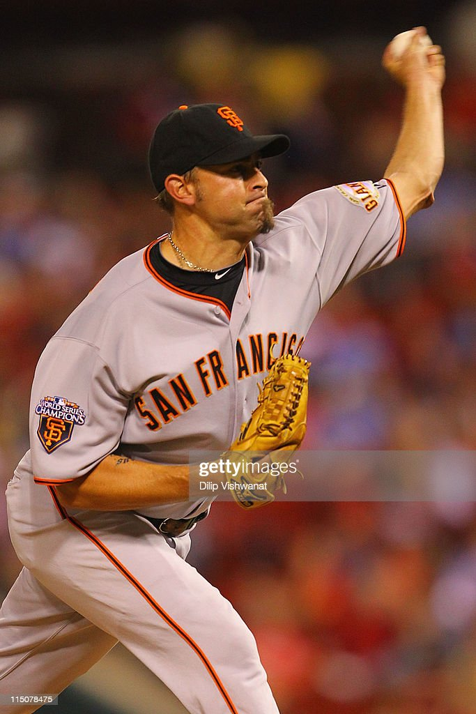 Reliever <a gi-track='captionPersonalityLinkClicked' href=/galleries/search?phrase=Jeremy+Affeldt&family=editorial&specificpeople=214238 ng-click='$event.stopPropagation()'>Jeremy Affeldt</a> #41 of the San Francisco Giants pitches against the St. Louis Cardinals at Busch Stadium on June 2, 2011 in St. Louis, Missouri.