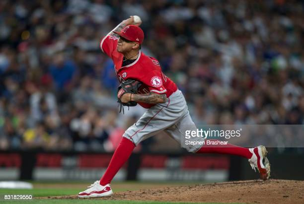 Reliever Jesse Chavez of the Los Angeles Angels of Anaheim delivers a pitch during a game against the Seattle Mariners at Safeco Field on August 12...