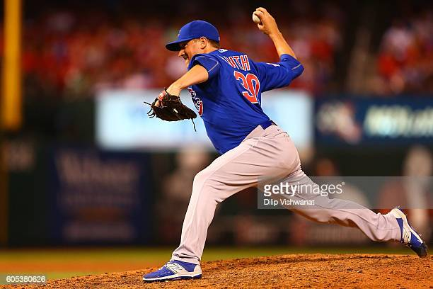 Reliever Joe Smith of the Chicago Cubs pitches against the St Louis Cardinals in the seventh inning at Busch Stadium on September 13 2016 in St Louis...