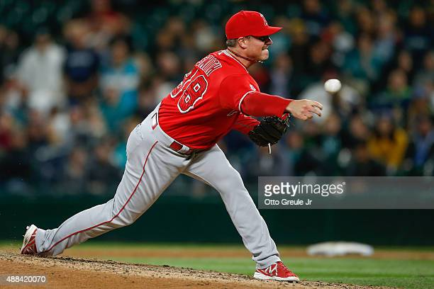 Reliever Joe Smith of the Los Angeles Angels of Anaheim pitches against the Seattle Mariners in the ninth inning at Safeco Field on September 15 2015...