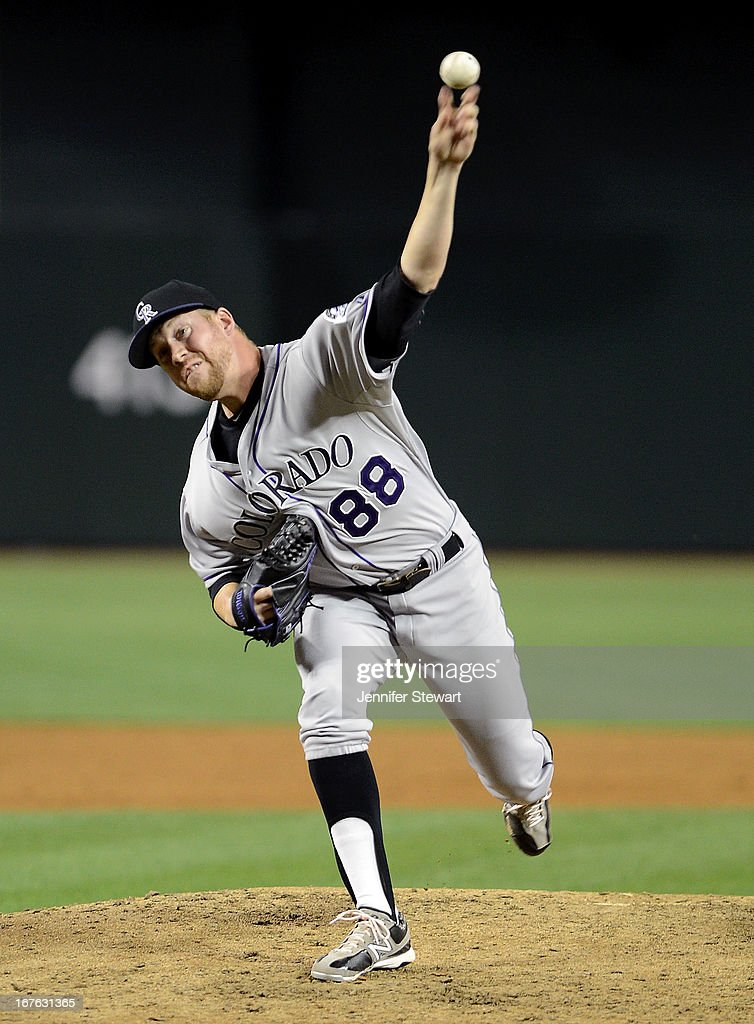Reliever <a gi-track='captionPersonalityLinkClicked' href=/galleries/search?phrase=Josh+Outman&family=editorial&specificpeople=4900182 ng-click='$event.stopPropagation()'>Josh Outman</a> #88 of the Colorado Rockies pitches against the Arizona Diamondbacks in the sixth inning at Chase Field on April 26, 2013 in Phoenix, Arizona.