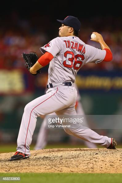 Reliever Junichi Tazawa of the Boston Red Sox pitches against the St Louis Cardinals in the eighth inning at Busch Stadium on August 5 2014 in St...