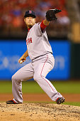 Reliever Junichi Tazawa of the Boston Red Sox pitches against the St Louis Cardinals in the eighth inning at Busch Stadium on August 6 2014 in St...