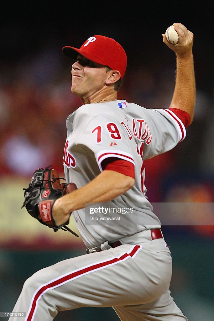 Reliever Justin De Fratus #79 of the Philadelphia Phillies pitches against the St. Louis Cardinals at Busch Stadium on July 23, 2013 in St. Louis, Missouri. The Cardinals beat the Phillies 4-1.