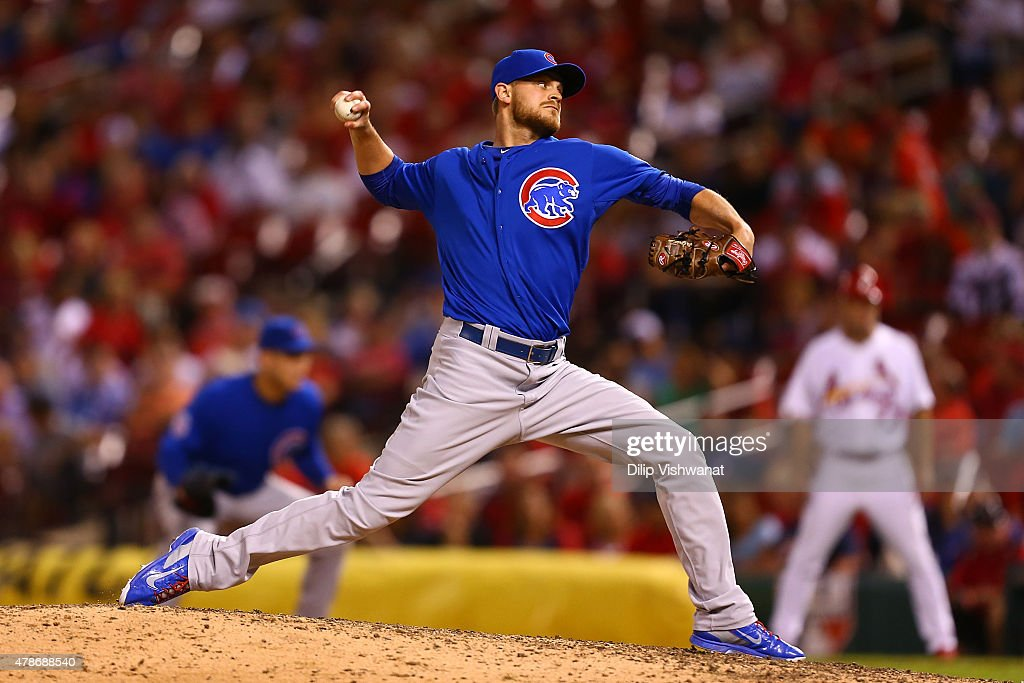 Reliever <a gi-track='captionPersonalityLinkClicked' href=/galleries/search?phrase=Justin+Grimm&family=editorial&specificpeople=9480126 ng-click='$event.stopPropagation()'>Justin Grimm</a> #52 of the Chicago Cubs pitches against the St. Louis Cardinals in the tenth inning at Busch Stadium on June 26, 2015 in St. Louis, Missouri. The Cardinals beat the Cubs 3-2 in 10 innings.