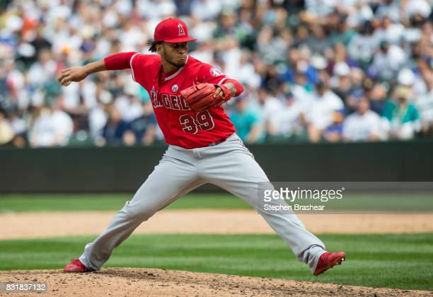 Reliever Keynan Middleton of the Los Angeles Angels of Anaheim delivers a pitch during a game against the Seattle Mariners at Safeco Field on August...