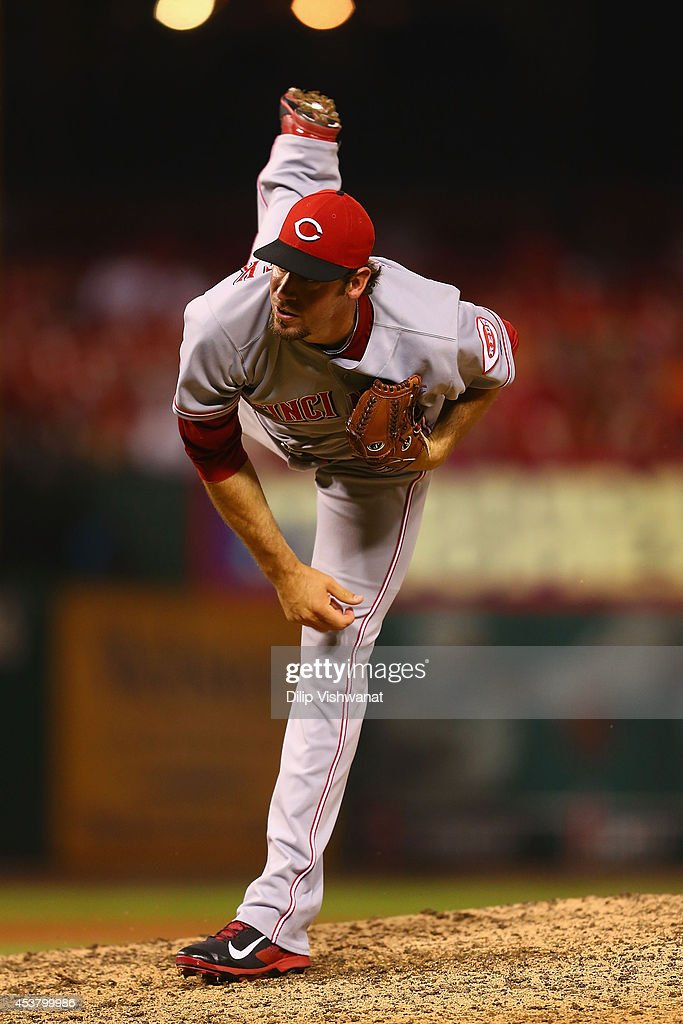 Reliever <a gi-track='captionPersonalityLinkClicked' href=/galleries/search?phrase=Logan+Ondrusek&family=editorial&specificpeople=6889117 ng-click='$event.stopPropagation()'>Logan Ondrusek</a> #66 of the Cincinnati Reds pitches against the St. Louis Cardinals in the tenth inning at Busch Stadium on August 18, 2014 in St. Louis, Missouri. The Cardinals beat the Reds in 10 innings.