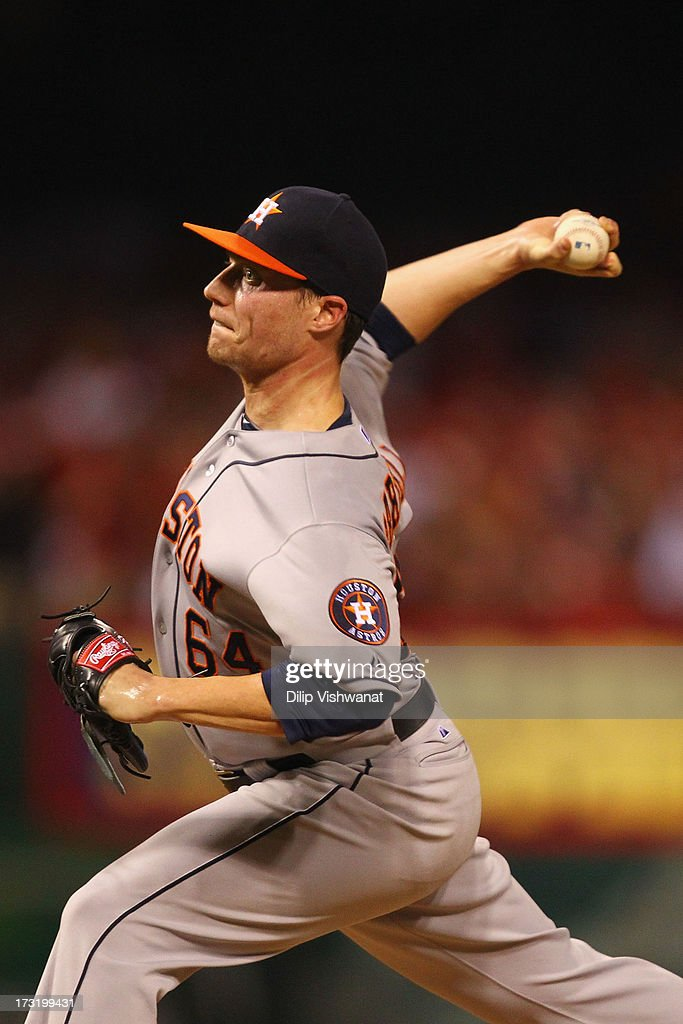Reliever <a gi-track='captionPersonalityLinkClicked' href=/galleries/search?phrase=Lucas+Harrell&family=editorial&specificpeople=4946913 ng-click='$event.stopPropagation()'>Lucas Harrell</a> #64 of the Houston Astros pitches against the St. Louis Cardinals at Busch Stadium on July 9, 2013 in St. Louis, Missouri. The Cardinals beat the Astros 9-5.