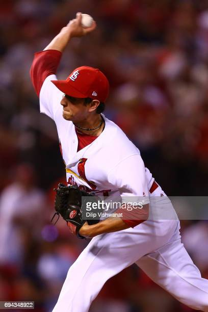 Reliever Matt Bowman of the St Louis Cardinals delivers a pitch against the Philadelphia Phillies in the seventh inning at Busch Stadium on June 9...