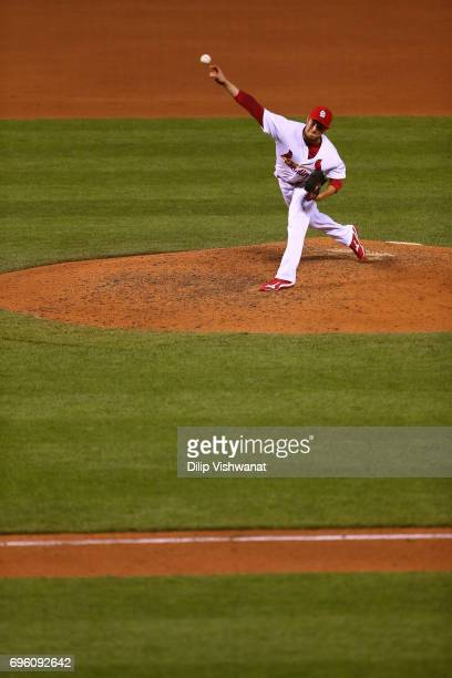 Reliever Matt Bowman of the St Louis Cardinals delivers a pitch against the Milwaukee Brewers in the eighth inning at Busch Stadium on June 14 2017...