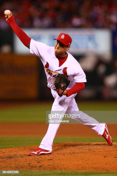 Reliever Matt Bowman of the St Louis Cardinals pitches against the Chicago Cubs in the sixth inning at Busch Stadium on April 4 2017 in St Louis...