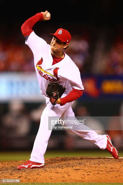 Reliever Matt Bowman of the St Louis Cardinals pitches against the Pittsburgh Pirates in the eighth inning at Busch Stadium on April 18 2017 in St...