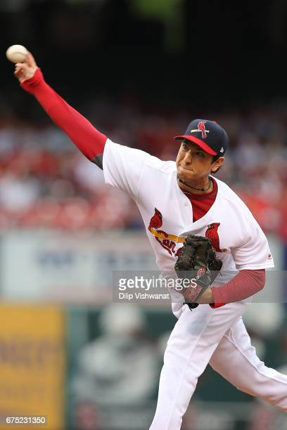 Reliever Matt Bowman of the St Louis Cardinals pitches against the Cincinnati Reds in the seventh inning at Busch Stadium on April 30 2017 in St...