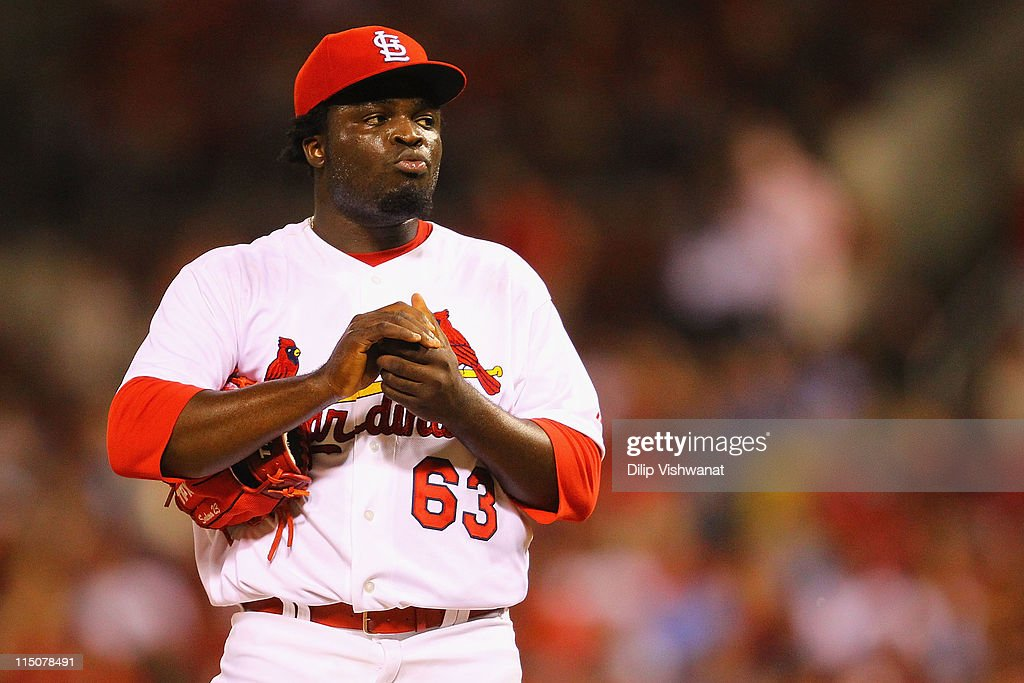 Reliever Miekal Cleto #62 of the St. Louis Cardinals reacts to giving up a home run to the San Francisco Giants in his major league debut at Busch Stadium on June 2, 2011 in St. Louis, Missouri.