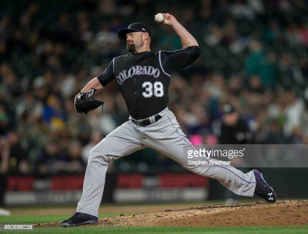 Reliever Mike Dunn of the Colorado Rockies delivers a pitch during a game at Safeco Field on May 31 2017 in Seattle Washington The Mariners won the...