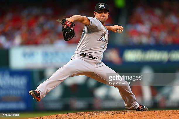Reliever Mike Dunn of the Miami Marlins pitches against the St Louis Cardinals in the fifth inning at Busch Stadium on July 16 2016 in St Louis...