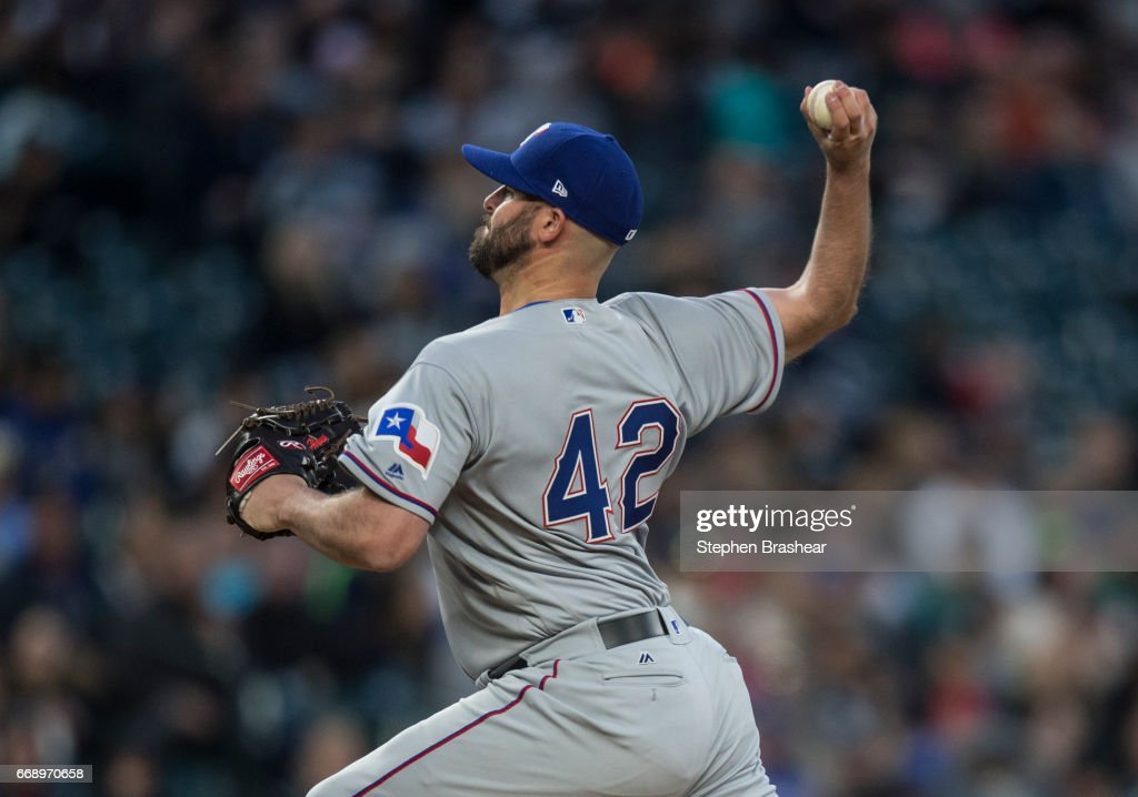 Reliever Mike Hauschild #49 delivers a pitch during the sixth inning of a game at Safeco Field on April 15, 2017 in Seattle, Washington. All players are wearing #42 in honor of Jackie Robinson Day.
