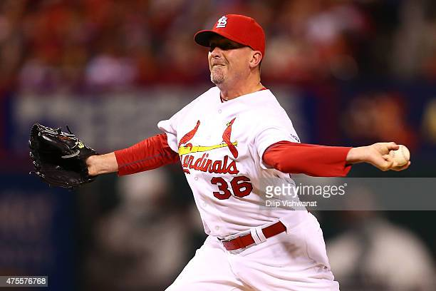 Reliever Randy Choate of the St Louis Cardinals pitches against the Milwaukee Brewers in the eighth inning at Busch Stadium on June 1 2015 in St...