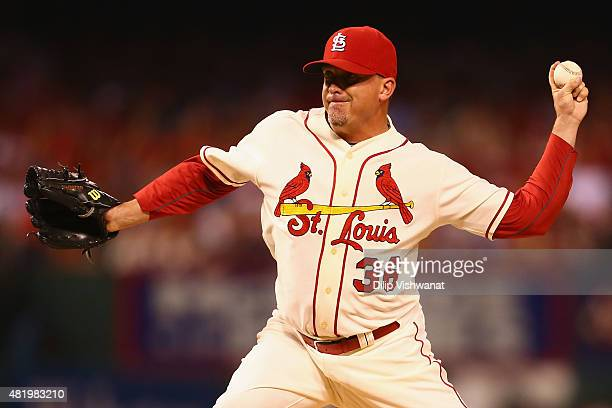 Reliever Randy Choate of the St Louis Cardinals pitches against the Atlanta Braves in the ninth inning at Busch Stadium on July 25 2015 in St Louis...