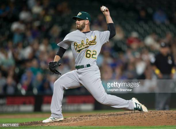 Reliever Sam Moll of the Oakland Athletics delivers a pitch during a game against the Seattle Mariners at Safeco Field on September 1 2017 in Seattle...