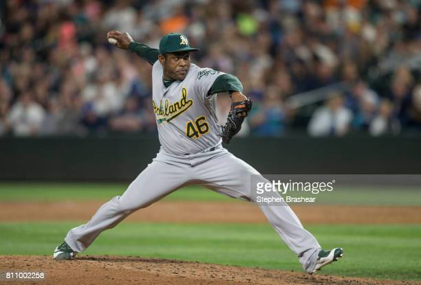 Reliever Santiago Casilla of the Oakland Athletics delivers a pitch during the ninth inning of a game against the Seattle Mariners at Safeco Field on...