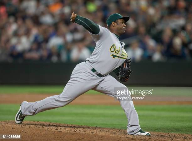 Reliever Santiago Casilla of the Oakland Athletics delivers a pitch during a game against the Seattle Mariners at Safeco Field on July 8 2017 in...