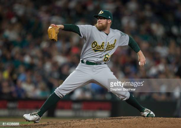 Reliever Sean Doolittle of the Oakland Athletics delivers a a pitch during a game against the Seattle Mariners at Safeco Field on July 8 2017 in...