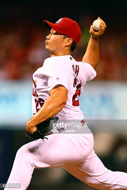 Reliever Seung Hwan Oh of the St Louis Cardinals pitches against San Diego Padres in the ninth inning at Busch Stadium on July 20 2016 in St Louis...