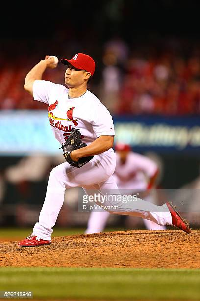Reliever Seung Hwan Oh of the St Louis Cardinals pitches against the Washington Nationals in the ninth inning at Busch Stadium on April 29 2016 in St...