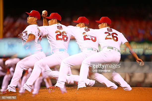 Reliever Seung Hwan Oh of the St Louis Cardinals pitches against the Philadelphia Phillies in the seventh inning at Busch Stadium on May 2 2016 in St...