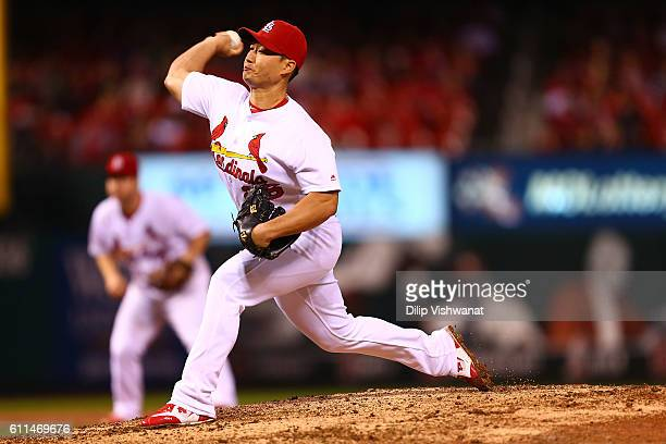 Reliever Seung Hwan Oh of the St Louis Cardinals pitches against the Cincinnati Reds in the ninth inning at Busch Stadium on September 29 2016 in St...