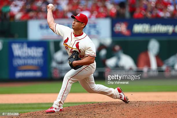 Reliever Seung Hwan Oh of the St Louis Cardinals pitches against the Pittsburgh Pirates in the ninth inning at Busch Stadium on October 1 2016 in St...