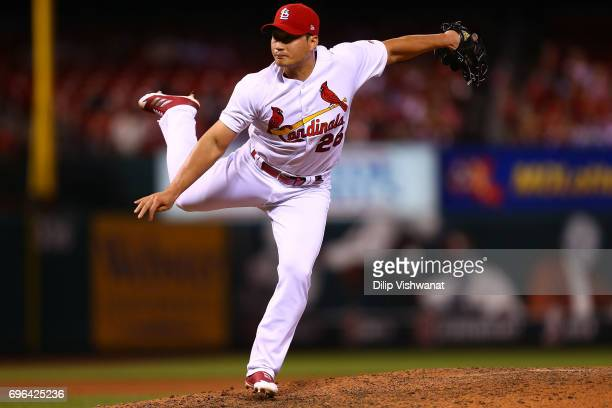 Reliever SeungHwan Oh of the St Louis Cardinals delivers a pitch against the Milwaukee Brewers in the ninth inning at Busch Stadium on June 15 2017...