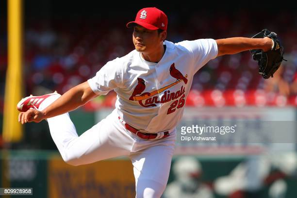 Reliever SeungHwan Oh of the St Louis Cardinals delivers a pitch against the Miami Marlins at Busch Stadium on July 6 2017 in St Louis Missouri