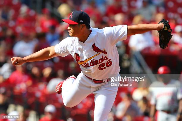 Reliever SeungHwan Oh of the St Louis Cardinals pitches against the Cincinnati Reds in the ninth inning at Busch Stadium on April 9 2017 in St Louis...