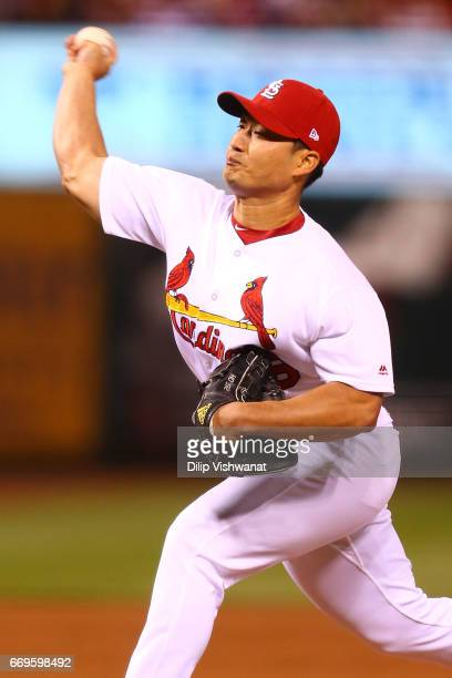Reliever SeungHwan Oh of the St Louis Cardinals pitches against the Pittsburgh Pirates in the ninth inning at Busch Stadium on April 17 2017 in St...