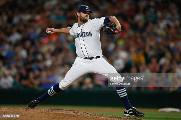 Reliever Tom Wilhelmsen of the Seattle Mariners pitches against the Baltimore Orioles in the seventh inning at Safeco Field on August 11 2015 in...