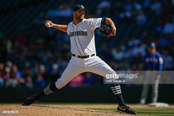 Reliever Tom Wilhelmsen of the Seattle Mariners pitches against the Texas Rangers in the ninth inning at Safeco Field on September 10 2015 in Seattle...