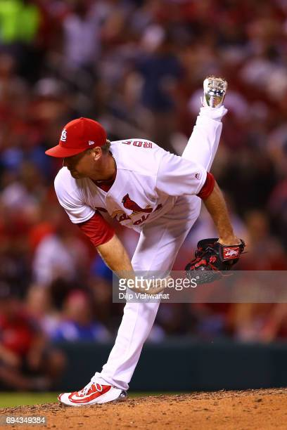 Reliever Trevor Rosenthal of the St Louis Cardinals delivers a pitch against the Philadelphia Phillies in the eighth inning at Busch Stadium on June...