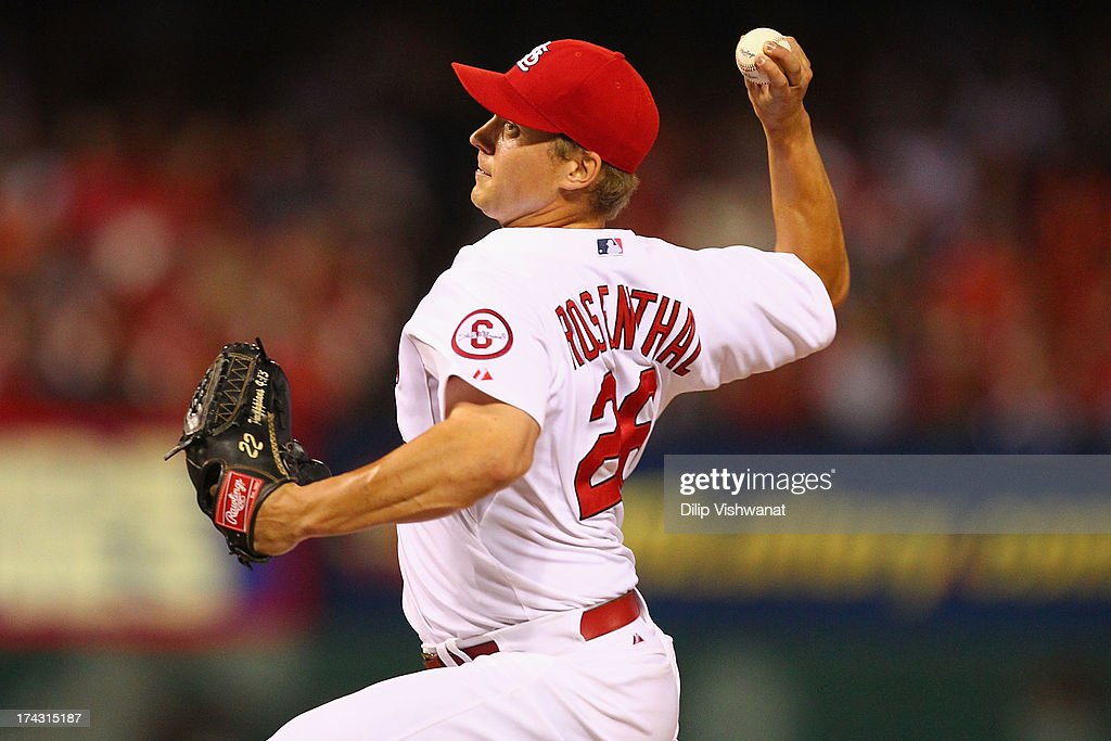 Reliever <a gi-track='captionPersonalityLinkClicked' href=/galleries/search?phrase=Trevor+Rosenthal&family=editorial&specificpeople=9003011 ng-click='$event.stopPropagation()'>Trevor Rosenthal</a> #26 of the St. Louis Cardinals pitches against the Philadelphia Phillies at Busch Stadium on July 23, 2013 in St. Louis, Missouri. The Cardinals beat the Phillies 4-1.