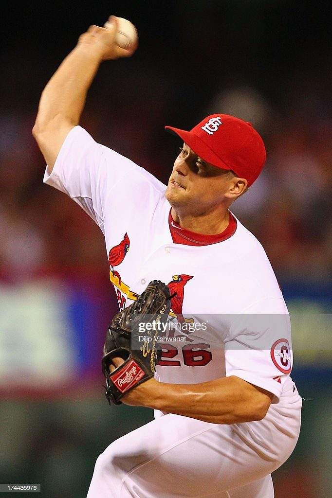 Reliever <a gi-track='captionPersonalityLinkClicked' href=/galleries/search?phrase=Trevor+Rosenthal&family=editorial&specificpeople=9003011 ng-click='$event.stopPropagation()'>Trevor Rosenthal</a> #26 of the St. Louis Cardinals pitches against the Philadelphia Phillies at Busch Stadium on July 25, 2013 in St. Louis, Missouri. The Cardinals beat the Phillies 3-1.