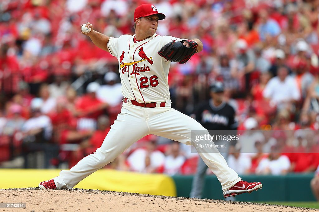 Reliever <a gi-track='captionPersonalityLinkClicked' href=/galleries/search?phrase=Trevor+Rosenthal&family=editorial&specificpeople=9003011 ng-click='$event.stopPropagation()'>Trevor Rosenthal</a> #26 of the St. Louis Cardinals pitches against the Miami Marlins in the ninth inning at Busch Stadium on July 5, 2014 in St. Louis, Missouri. The Marlins beat the Cardinal 6-5.
